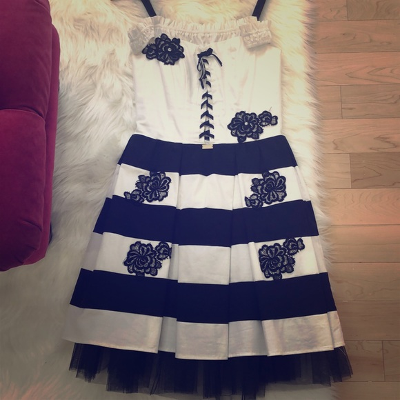Beautiful shabby chic black & white stripped dress